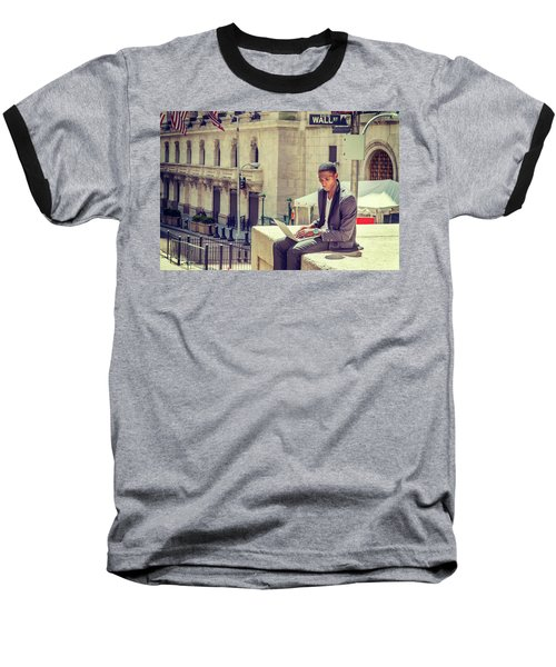 Young African American Man Working On Wall Street In New York Baseball T-Shirt