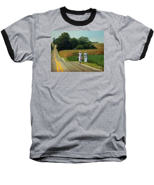 Young Amish Woman Barefoot Stroll Baseball T-Shirt