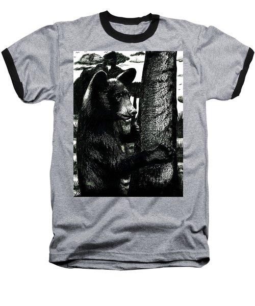 Young Black Bear In Tree  Baseball T-Shirt