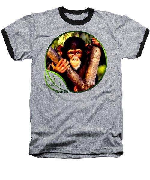 Young Chimpanzee Baseball T-Shirt by Dan Pagisun
