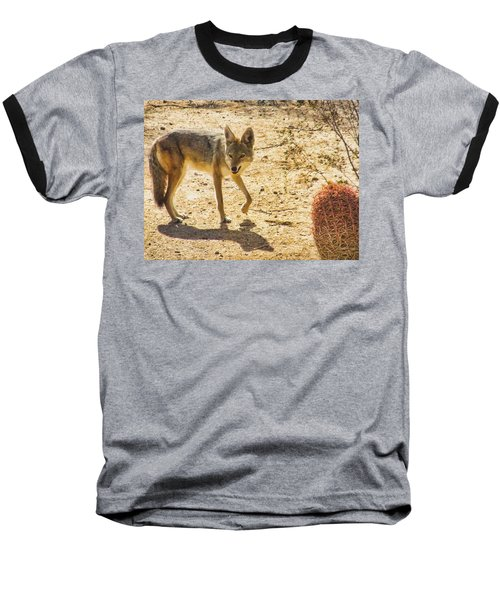 Young Coyote And Cactus Baseball T-Shirt