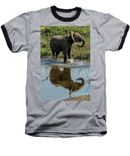 Young Elephant Playing In A Puddle Baseball T-Shirt