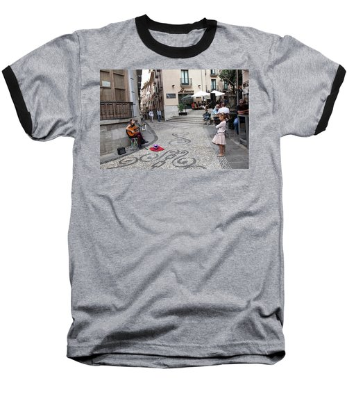 Baseball T-Shirt featuring the photograph Young Girl Listening To Guitar - Grenada - Spain by Madeline Ellis