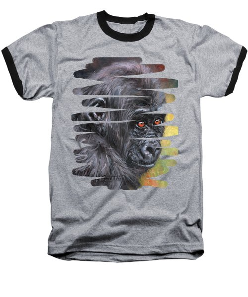 Young Gorilla Portrait Baseball T-Shirt