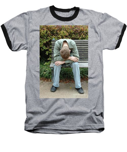 Young Man On Bench Baseball T-Shirt