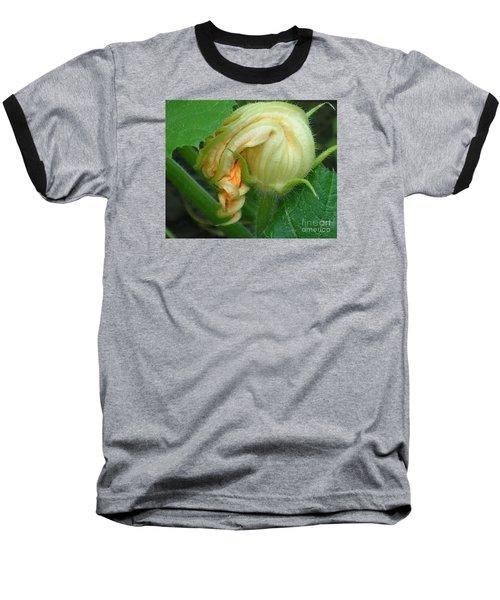 Baseball T-Shirt featuring the photograph Young Pumpkin Blossom by Christina Verdgeline