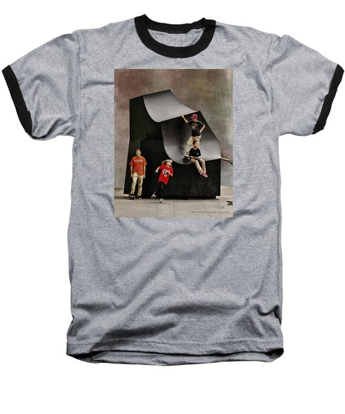Young Skaters Around A Sculpture Baseball T-Shirt by Pedro L Gili