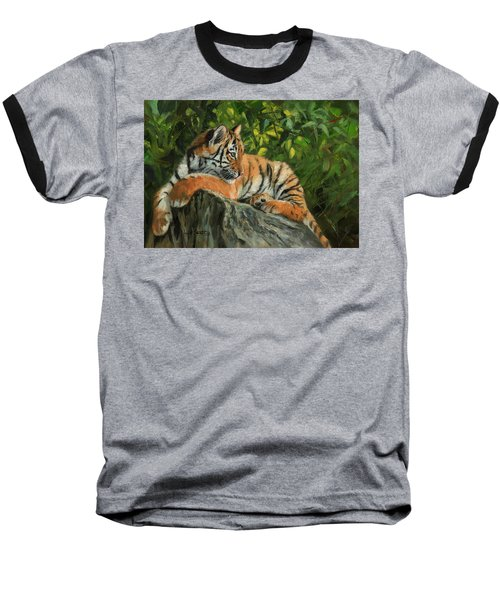 Baseball T-Shirt featuring the painting Young Tiger Resting On Rock by David Stribbling