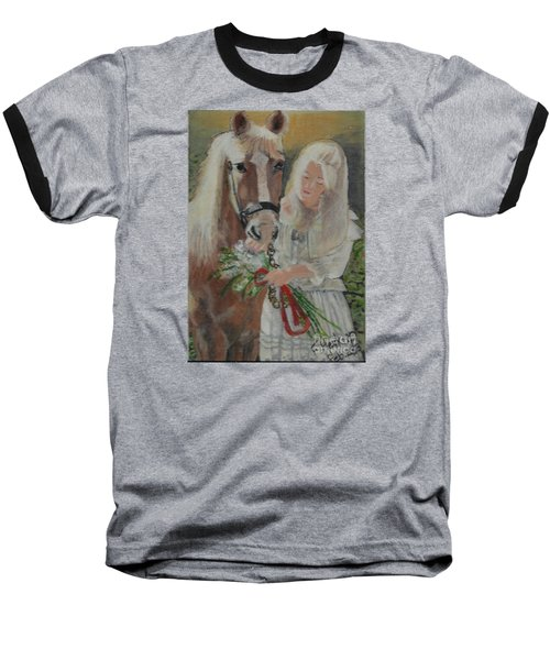 Young Woman With Horse Baseball T-Shirt