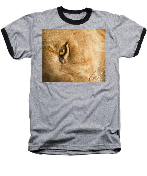 Your Lion Eye Baseball T-Shirt by Carolyn Marshall