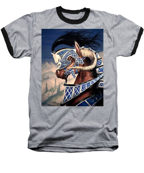 Baseball T-Shirt featuring the painting Yuellas The Bulvaen Horse by Curtiss Shaffer