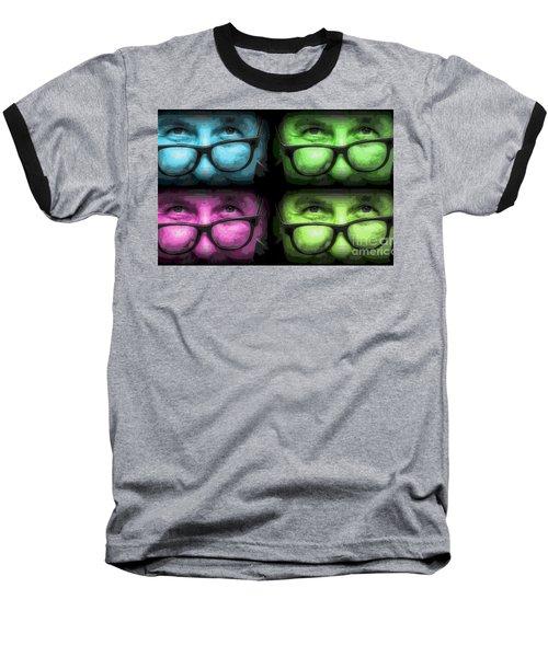 Baseball T-Shirt featuring the pyrography Yury Bashkin Man In Glasses by Yury Bashkin