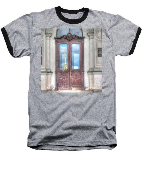Baseball T-Shirt featuring the pyrography Yury Bashkin Old Door by Yury Bashkin