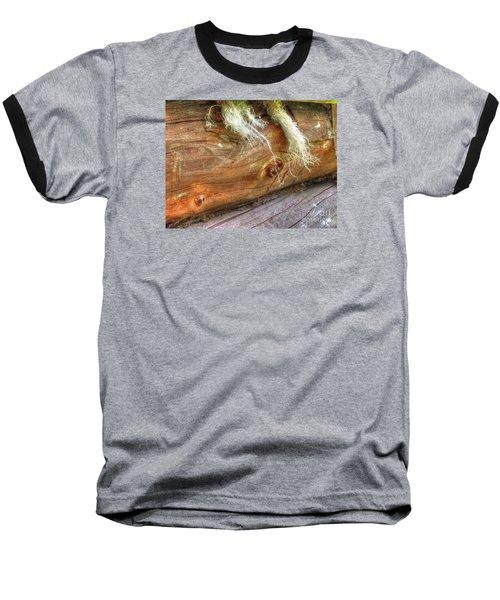 Baseball T-Shirt featuring the pyrography Yury Bashkin Rustic Wall by Yury Bashkin