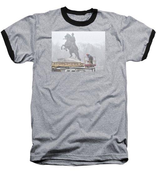 Yury Bashkin The Fog Street Peterburg Baseball T-Shirt by Yury Bashkin