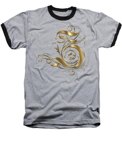Z Golden Ornamental Letter Typography Baseball T-Shirt