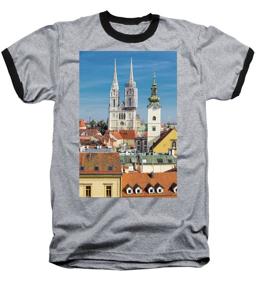 Zagreb Cathedral And St. Mary's Church Baseball T-Shirt by Steven Richman