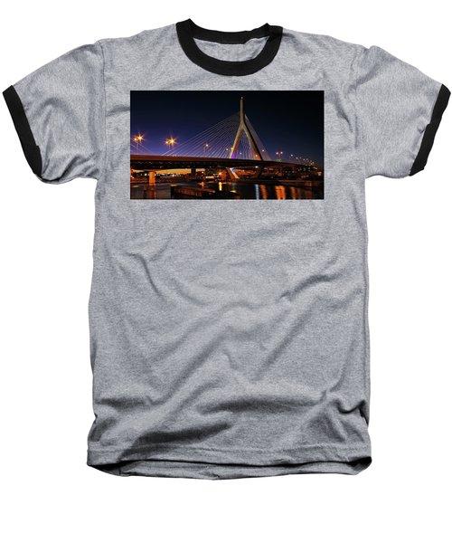 Zakim Bridge Boston Massachusetts At Night Baseball T-Shirt by Betty Denise