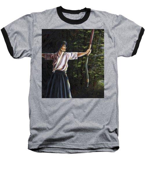 Baseball T-Shirt featuring the painting Zanshin by Hiroko Sakai