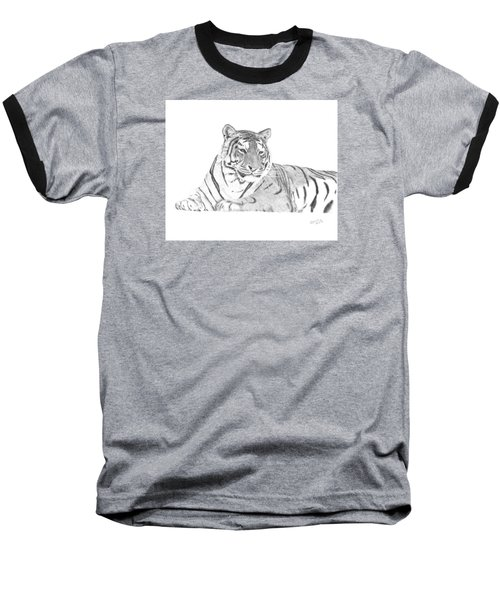 Zarina A Siberian Tiger Baseball T-Shirt by Patricia Hiltz