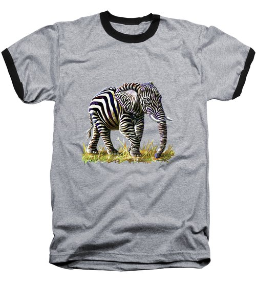 Zebraphant Baseball T-Shirt by Anthony Mwangi