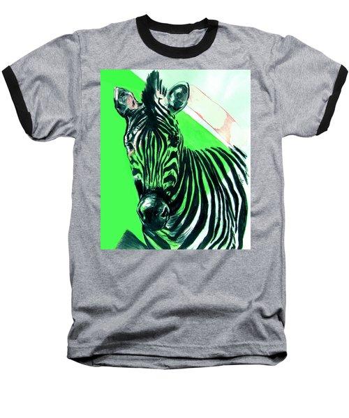 Zebra In Green Baseball T-Shirt