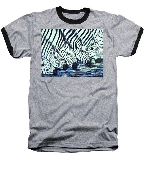 Zebra Line Baseball T-Shirt by Donna Dixon