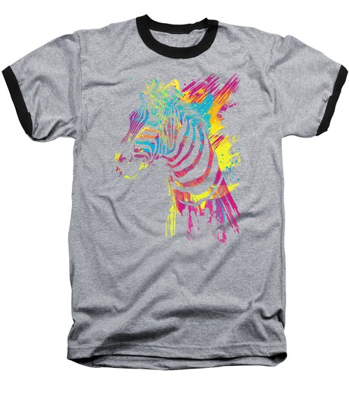 Zebra Splatters Baseball T-Shirt