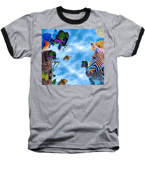 Zebras Birds And Butterflies Good Morning My Friends Baseball T-Shirt