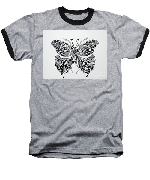 Zen Butterfly Baseball T-Shirt by Tamyra Crossley