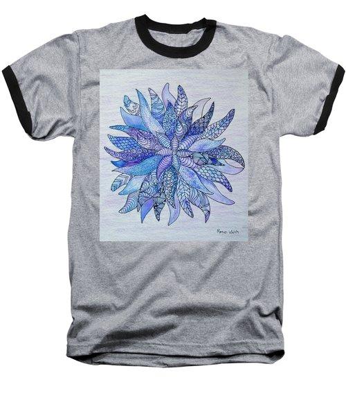 Baseball T-Shirt featuring the drawing Zen Flower Mandala by Megan Walsh
