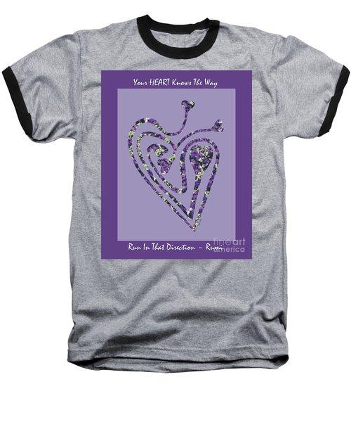 Zen Heart Labyrinth Floral Baseball T-Shirt