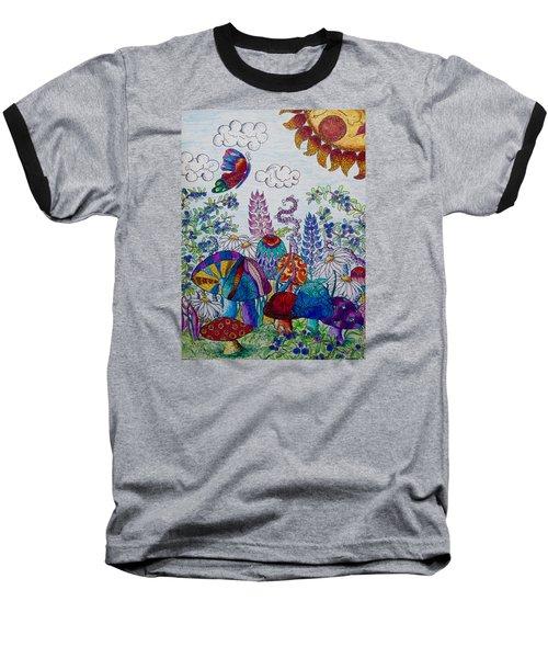 Zentangle Garden Baseball T-Shirt by Megan Walsh