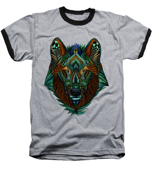 Zentangle Inspired Art- Wolf Colored Baseball T-Shirt