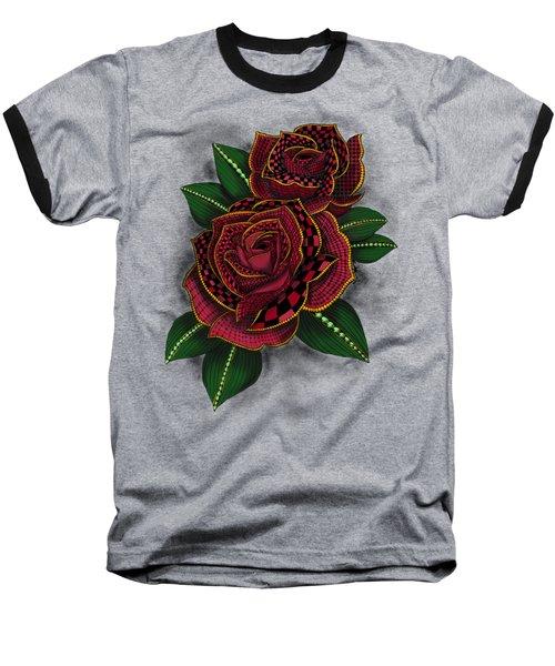 Zentangle Tattoo Rose Colored Baseball T-Shirt