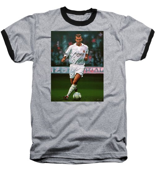 Zidane At Real Madrid Painting Baseball T-Shirt by Paul Meijering