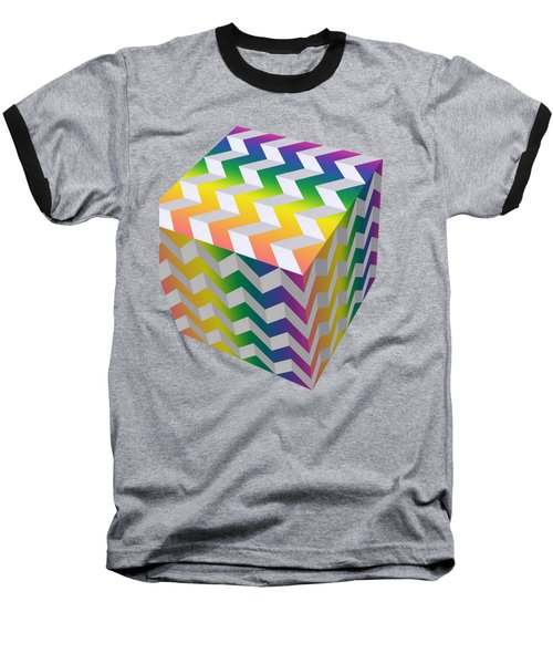 Zig Zag Cube Baseball T-Shirt by Chuck Staley