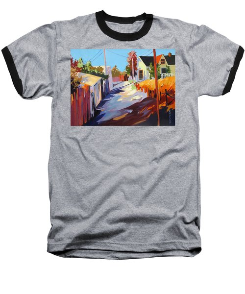 Baseball T-Shirt featuring the painting Zig Zag Shadows by Rae Andrews