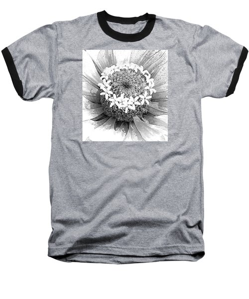 Baseball T-Shirt featuring the photograph Zinnia, Black And White by Jeanette French