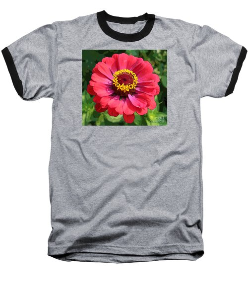 Zinnia Baseball T-Shirt by Jeanette French