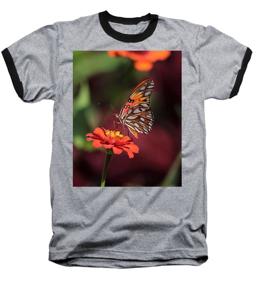 Zinnia With Butterfly 2668 Baseball T-Shirt