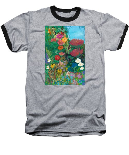 Zinnias Garden Baseball T-Shirt by Robin Maria Pedrero