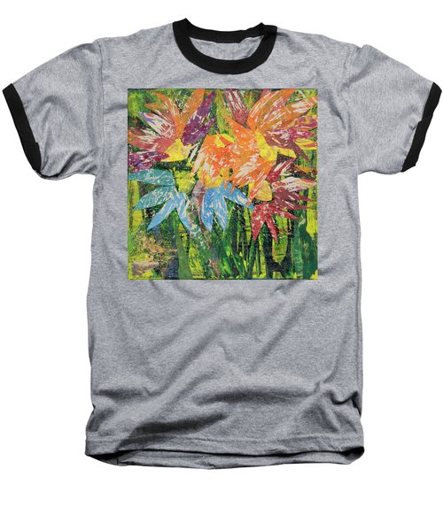 Zinnias Gone Mad Baseball T-Shirt
