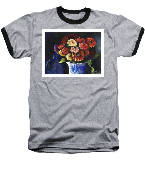 Baseball T-Shirt featuring the painting Zinnias by Marlene Book
