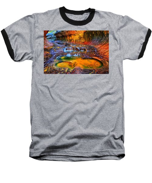 Zion Subway Falls Baseball T-Shirt by Greg Norrell