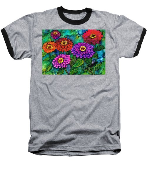 Baseball T-Shirt featuring the painting Zippy Zinnias by Val Stokes