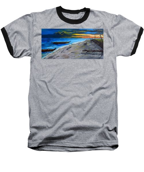 Baseball T-Shirt featuring the painting Zombie Island by Melvin Turner