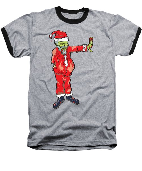 Baseball T-Shirt featuring the drawing Zombie Santa Claus Illustration by Jorgo Photography - Wall Art Gallery