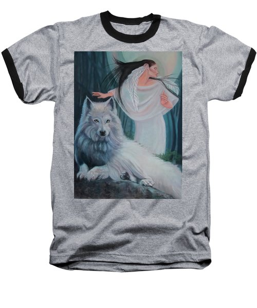 Zuni Maiden With Her White Wolf Baseball T-Shirt