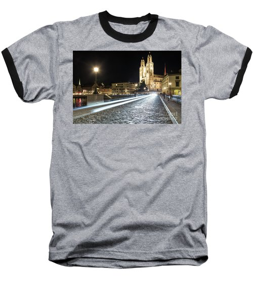 Zurich Night Rush In Old Town Baseball T-Shirt